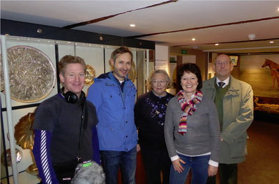 l-r:Toby Field (Producer), Richard Hobbs (Curator, British Museum), Stephanie Palmer (Mildenhall Museum Chairman), Helen Mark (Presenter), Sydney Holder (grandson of Syd Ford, co-finder of the Mildenhall Treasure)